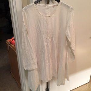 GIKING XXL 2XL White Long Sleeve linen dress
